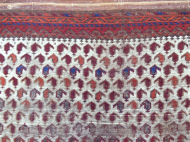 "Rare white ground ""square"" Baluch Rug with a million boteh. Thin and fine weave. Circa 1870-80."
