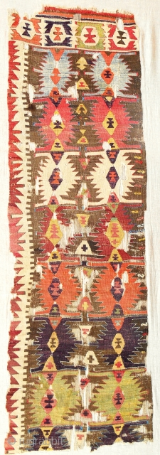 18th c. Central Anatolian kilim panel. Conserved and professionally nounted on linen.