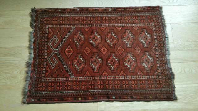 "Kizyl Ayak Prayer Rug. Strong colors, glossy wool, Minor end-border loss. 39"" x 28""."