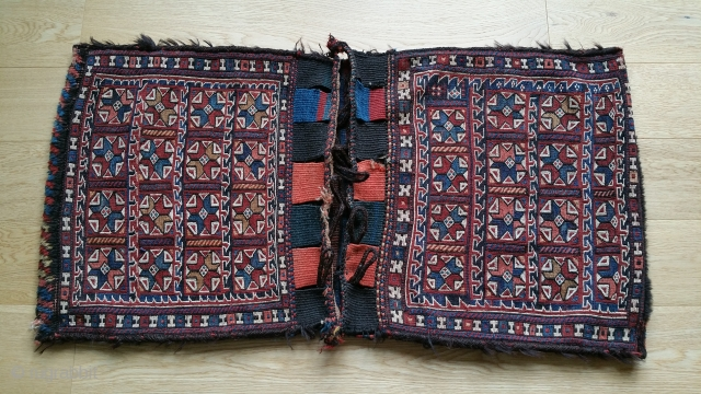 "South Persian saddle bag. Soumac, with pile trim. Goat hair selvage. 43"" x 22""."