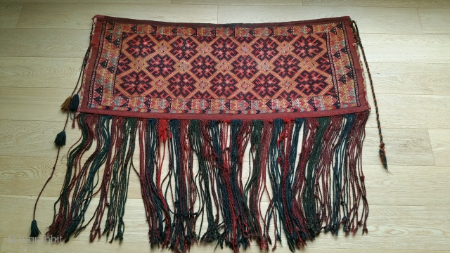 "Yomud Bag complete, Soumac, Yellow silk highlights, original selvage and tassels. 46"" x 36"" (the 36"" includes tassels)."