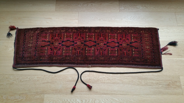"Yomud Animal Trapping. Original braided tassels. 50"" x 15""."