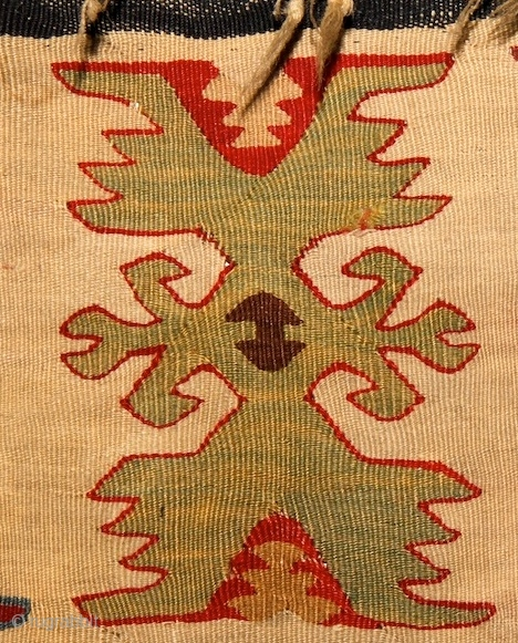 Sarköy Kilim, 19th cent, 137x207 Paper thin weaving: 7 weft-yarn on 1 cm!