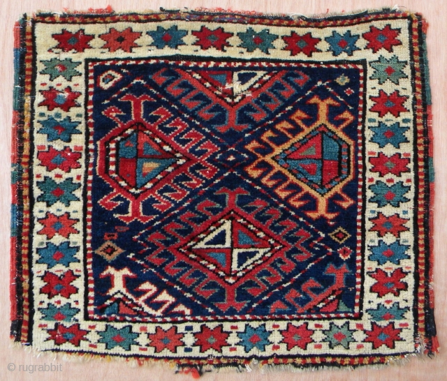 North west persian pile bag face, 52 x 44 cms, cotton weft, excellent clear colours, some moth bites here and there, good pile length.