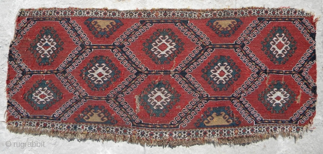 Sumak mafrash side panel, 102 x 43 cms, maybe Shahsavan, maybe Caucasian, unusual honeycomb design, all good saturated colours, needs cleaning, some areas of exposed warps/splits but substantially all there, no repairs.