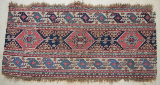 Southern caucasus mafrash side panel, 96 x 46 cms, brown wool warps, wool extra weft wrapping but cotton foundation wefts, extensive oxidisation in the dark brown; all good colours, no repairs and  ...
