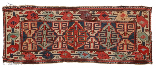 """Shahsevan sumak mafrash panel, nice scale, great color including aubergine. Highlights with metal thread.  size= 2'9""""x1'2"""" , Inv# 17693  Collection of Dr. and Mrs. William T. Price  View our exhibition online at... http://peterpap.com/searchResults.cfm?searchType=collections"""
