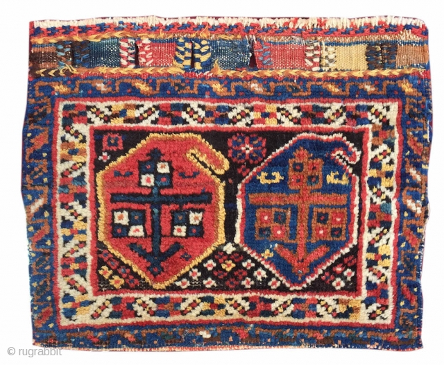 Afshar or Luri chanteh. This soft colorful bag face once served as the outside panel of a small personal bag, or 'chanteh'. A pair of 'boteh' paisleys are drawn in madder red  ...