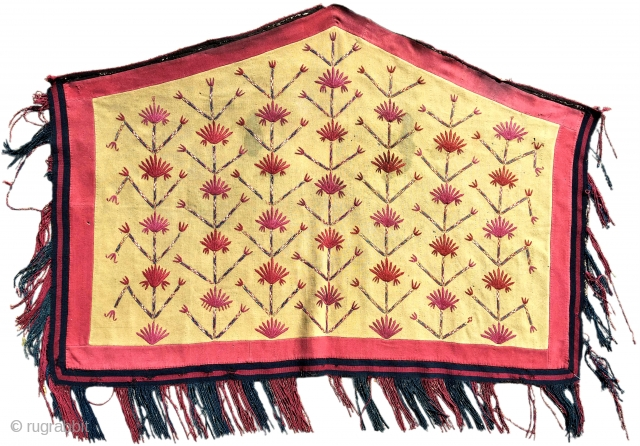 Tekke Turkmen embroidered asmalyk. Part of our exhibition, 'Artful Weavings' featuring the Robert Emry collection.  