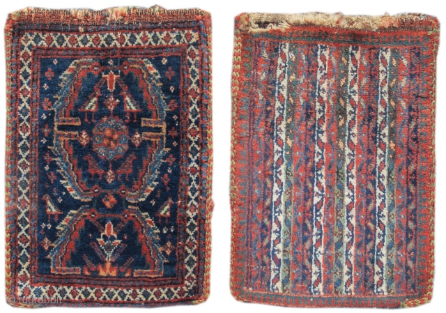 Qashqai Double-Sided Spindle Bag: Dealers and collectors sometimes refer to these narrow south Persian bags as 'spindle bags.' However, Tanavoli describes a similarly shaped bag as a 'qalyandan,' or water-pipe bag. Tribal  ...