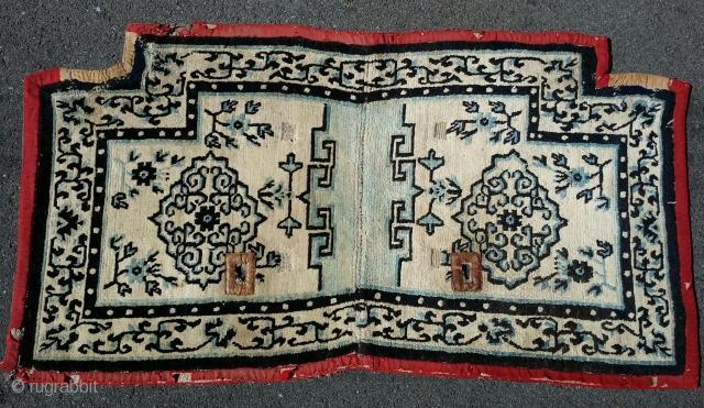 "Tibetan Saddle Cover, 19th cen. (4th quarter)  2'6""×4'0""  Inv#2423   http://www.peterpap.com/rugDetail.cfm?rugID=2423"
