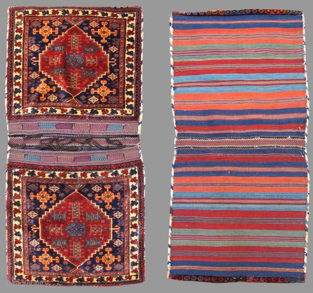 "This luxuriant complete set of Khamseh saddle bags or "" khorjin "" was woven in Southwest Persia using the finest, softest wool available. The colors, all achieved through traditional vegetal dyeing, glisten.  ..."
