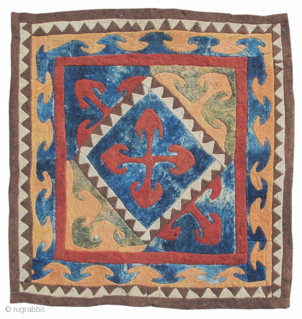 """Kyrgyz Felt Fragment  19th C (2nd half) Central Asia   5'6""""x5'5""""  INV#10303  Felt working has a special place among the domestic arts of the nomads of Eurasia. Produced more easily than woven textiles and with incredible  ..."""
