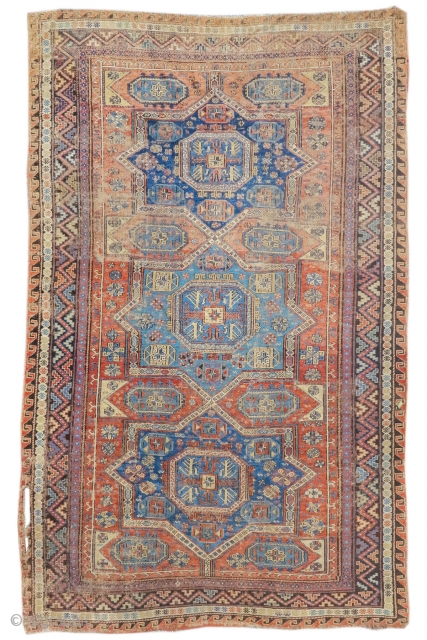 "Caucasian sumak rug, worn but authentic. 5'10""x8'7""