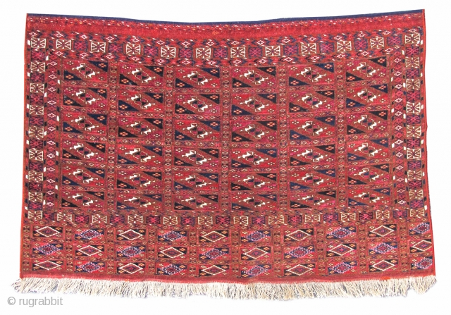 """Tekke Turkmen chuval with aina gul design in both field and elem. Finely woven with copious amounts of silk. 2'3""""x3'6""""  http://www.peterpap.com/rugDetail.cfm?rugID=16544"""