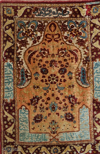 Beautiful Hand-Knotted Silk on Silk and Silver  Brocade Turkish Hereke signed (ÖZEL HEREKE) c.92x61 cm  (circa 1950) 
