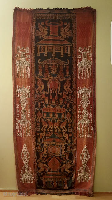 Indonesian Ikat, around 1900. Very nice colors and good condition.  Size 268x120 cm