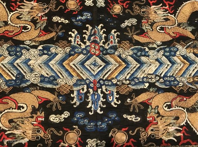 19th Century China Dragon Textile. Put on black Textile Size.120x50cm