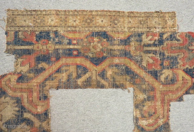 18th Century Caucasian Kuba Rug Fragment Size.130x30-45cm