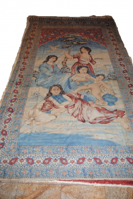Exceptional Persian Kalamkar, Block Print and Hand painted, apart two few small repare, great condition, size is around 3 meters long.