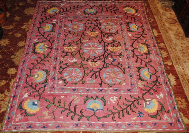 19th century Lakai Suzani, very fine embroidery, silk on silk embroidery, good condition, apart in some areas the silk is little used, but thats normal for its age, the size is 150/120  ...