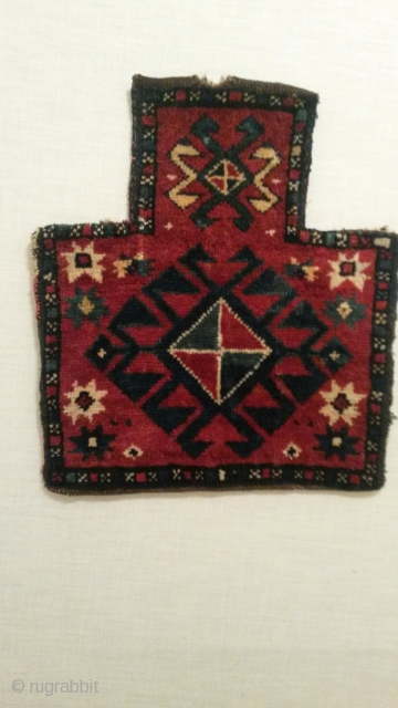 "Kazak / trans Caucasian salt bag 17""x 19""  43cm x 48 cm nice colors and drawing, intact back , old enough,.. email for more pics or info"