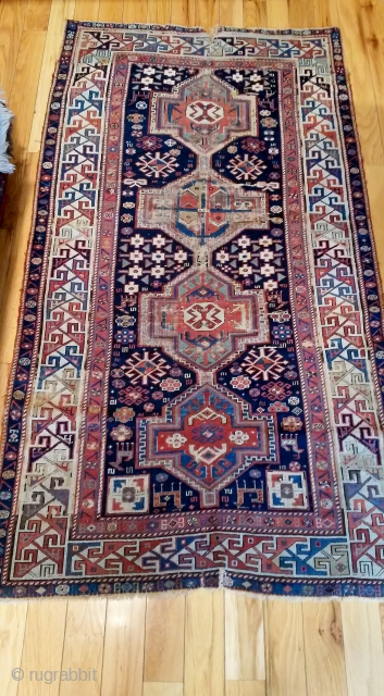 19th cen. Shirvan  1880 or so,.. needs some help or not...blacks corroded,  wool on wool  cut and shut