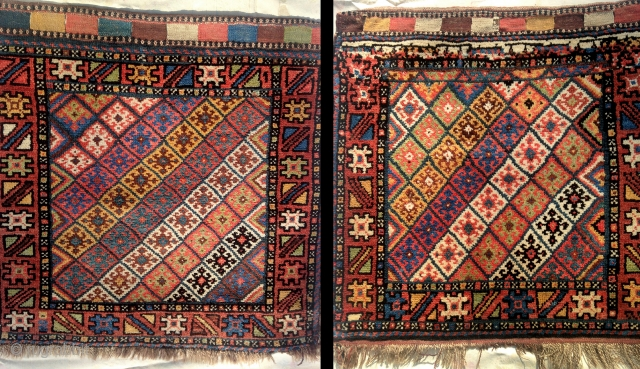 Pair of antique kurdish Jaff bags. Beautiful condition. Full pile and natural colors. 