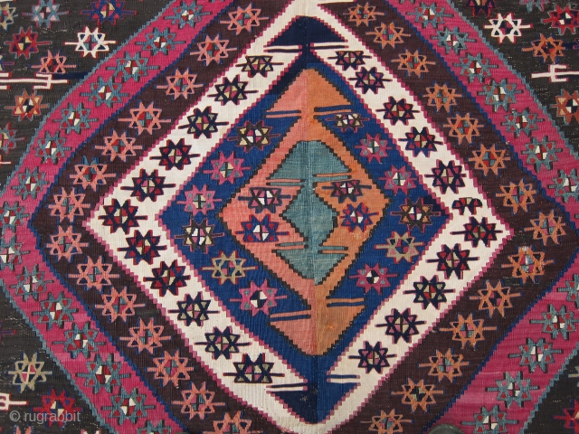"""E. Anatolian kilim, 2nd half 19th C., 65"""" x 92""""  This kilim has lost perhaps 1/3 of its length; however, deeply saturated richly colored dyes and excellent condition make up for  ..."""
