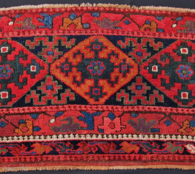 "Kurdish Sauj Bulaq panel, 50"" x 21"", Beautiful colors, excellent pile, repairs to corners, small isolated re-piling in the field."