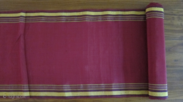 "Turkmen hand loomed silk fabric in 2 pieces: 12"" x 16' and 12"" x9'3"""