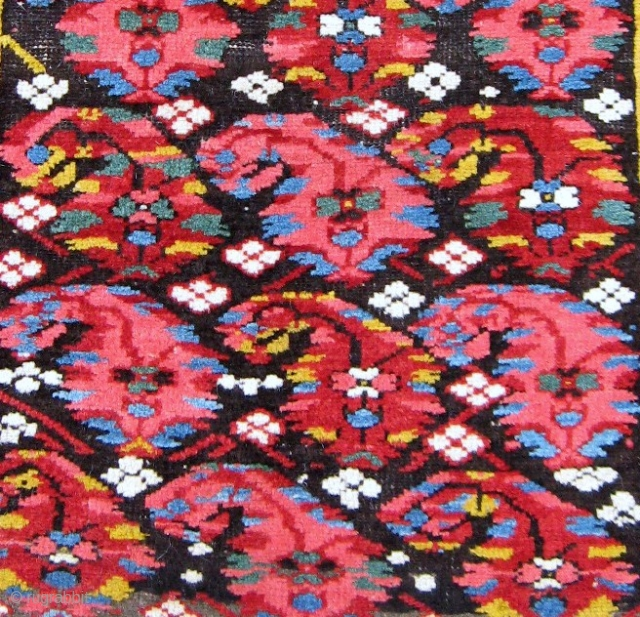 "19th C. small Kuba rug, 2'5"" x 3'. A most colorful display of botehs on this rare, chunky N.E. Caucasian rug. Two old patches, one 2"" x 3"" and the other 1  ..."