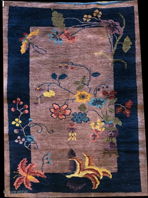 Nice purple ground Art Deco Chinese rug. Overall is in good condition with a couple of area where show minor wear.
