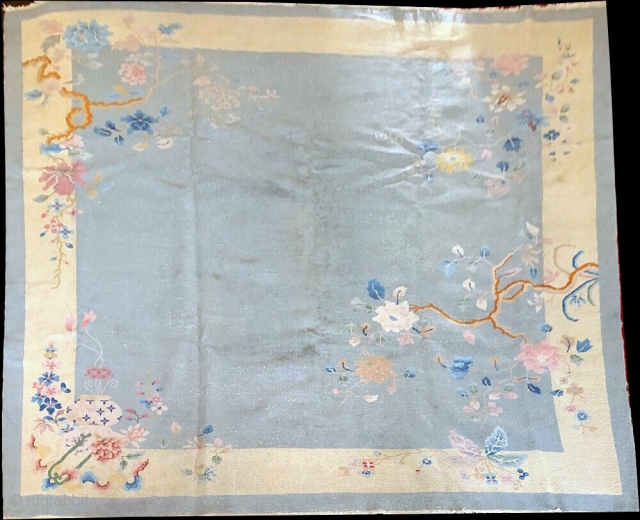 Nic3 1920 Art Deco Chinese. Condition, low even flat pile, shows wear but could be used as-is, Measures 9' x 10'.