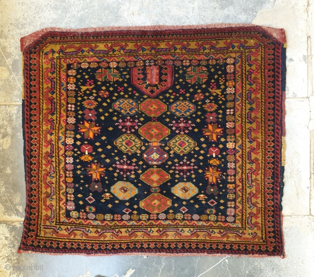 Unique horse saddle cover from Turks of Afshar with attractive design, this precious piece is in excellent condition  Aged 80 years old and dimensions are 70*60 cm ,extra shiny wool and is  ...