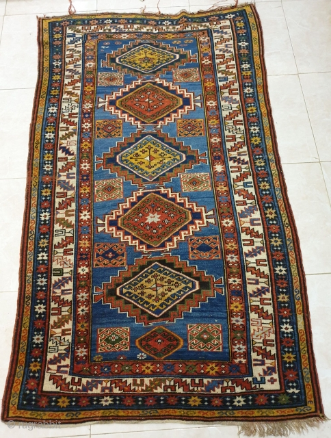Magnificent caucasus rug designated with 6 amazing central medallions,patterns are crisply drawn,dramatic use of color is fascinating