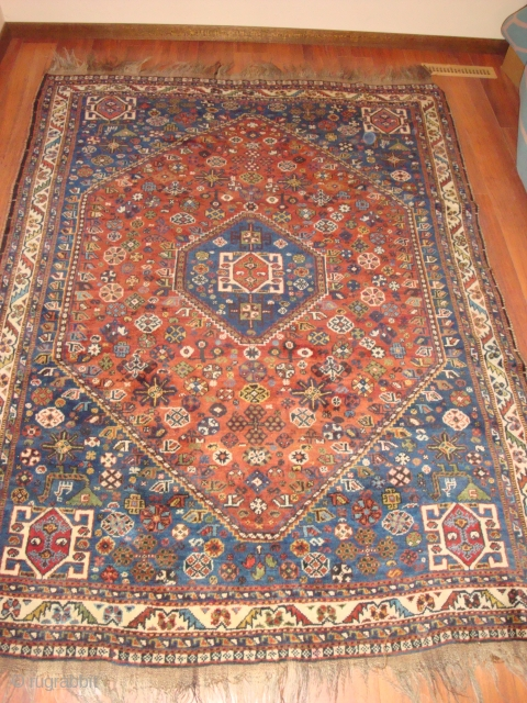 KAMSEH'S TRIBAL RUG: The rug is dated approximately 1930. The dyes appear to be entirely natural. This tribal rug is Kamsehs and not Qashqa'is as originally thought. The weft is wool and  ...