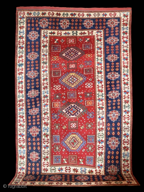 Ref 1277 Kazak carpet circa 1875. 7'11 x 4'9 - 240 x 145 In very good condition, soft lustrous wool and vibrant colour.  Insignificant restoration.
