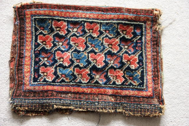 1506 Antique Sirjan bag.  Made by Afshars in the environs of Sirjan/Saidabad, Kerman province. Quite rare with similar structure to Kermanshah carpets. Circa 1880.