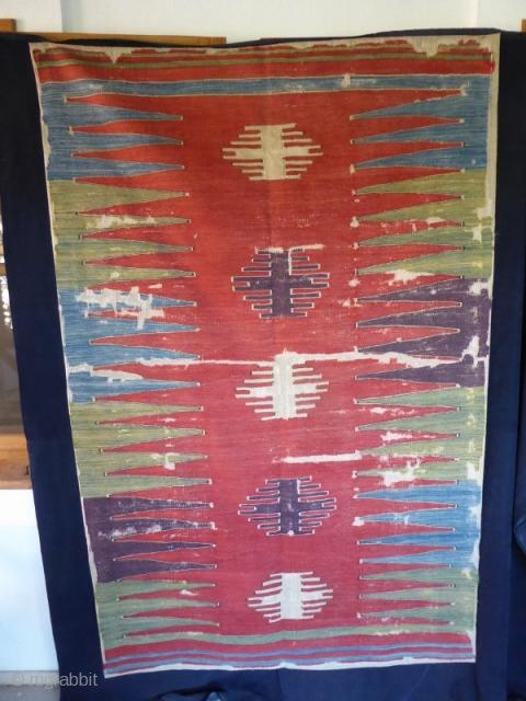 Ref 1519 West Anatolian kelim Circa 1800 professionally mounted. 6'4 x 4'1 - 181 x 125