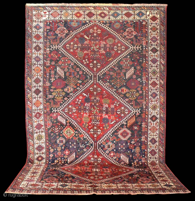 Ref 1307 Khamseh carpet in good condition and all natural colours. 10'3 x 6'4 - 315 x 193. Cleaned and no restoration