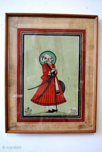 Set of 2 fine Persian paintings on specially made paper from fabric.  18/19th century. framed, the passe-partout is part of the painting. 34 x 44 Cm. 1ft.2inch x 1 ft.6 inch.  price $  ...