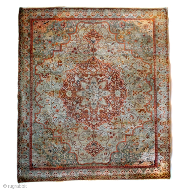 Fine Antique Tabriz Silk Rug, early 20th century.  Made by a master craftsman.  Even wear. Refined palette of gray, taupe, celadon-green, red and some soft orange.  Natural dyes. The orange is made  ...