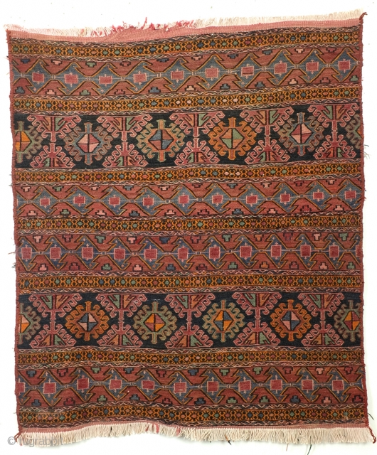 Shahsavan mafrash panel.  Soumach. 100 x 86 cm. 3.3 ft.x 2.8 ft.