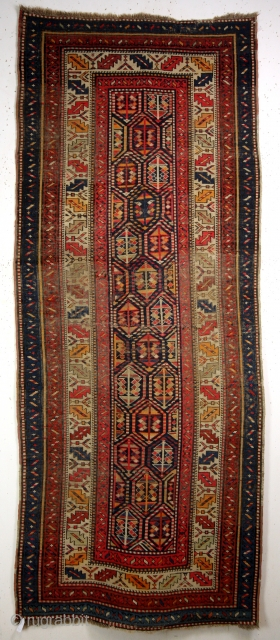 118 x 260 Cm's.  Shirvan area, early 20th century.  Vintage look, old repairs.  Original sides and headings.