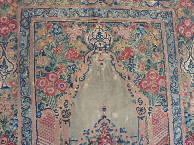 Ottoman Banya Luka appliqué, 18th c. 185  x 125 cm., Wool and some silk embroidery.Prayer panel.