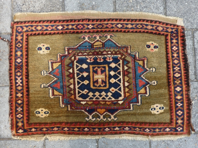 "Big Kurdish (?) bag front, 72 x 105 cm., 28"" x 41"". Good pile, some side damages and with a faded pink dye."