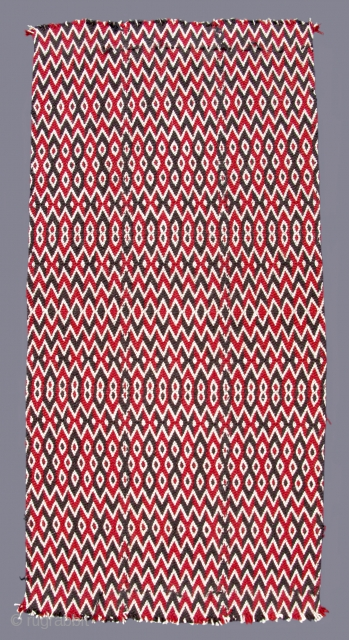 """Tibetan Split-Ply Textile  TC12  18""""  x  38"""" Central Tibet - 20th c.  Woven in three panels of split & braided course wool with stylistic elements from Vajrayana Buddhism often portraying vajra (dorje)  ..."""