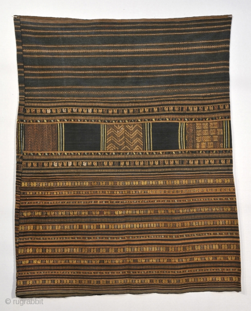 Ha Li People, Hainan Island , Sputh China.  Skirt with silk brocade and embroidery on indigo ground .