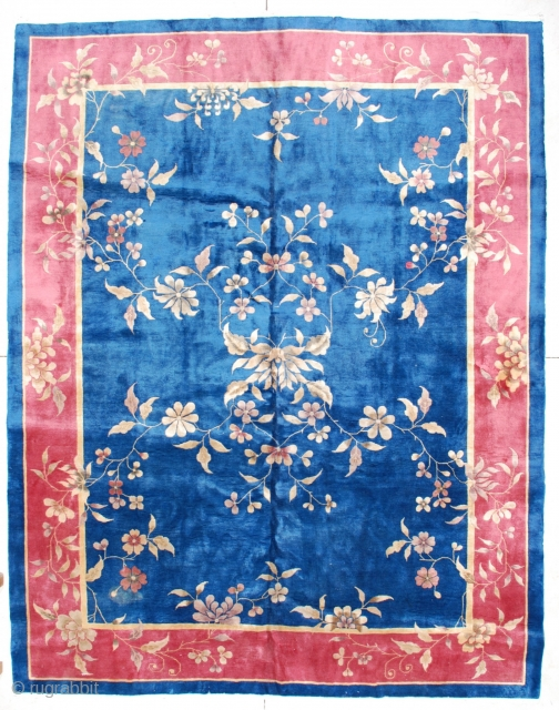 """#6589 Antique Art Deco Chinese Rug 9'10"""" X 11'6″ This circa 1920 Art Deco Chinese rug measures 9'0"""" X 11'6"""". It has a medium blue field with vines and flowers overall in yellow,  ..."""